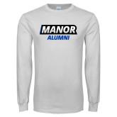 White Long Sleeve T Shirt-Manor Alumni