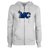 ENZA Ladies White Fleece Full Zip Hoodie-MC Logo