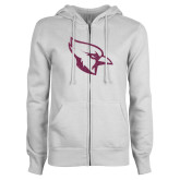 ENZA Ladies White Fleece Full Zip Hoodie-Glitter Cardinal White Pink Glitter