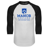 White/Black Raglan Baseball T Shirt-Manor College Logo