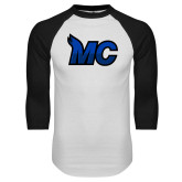 White/Black Raglan Baseball T Shirt-MC Logo