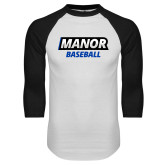 White/Black Raglan Baseball T Shirt-Manor Baseball