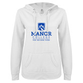ENZA Ladies White V Notch Raw Edge Fleece Hoodie-Manor College Logo