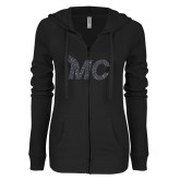 ENZA Ladies Black Light Weight Fleece Full Zip Hoodie-Glitter MC White Graphite Soft Glitter