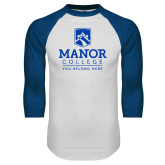White/Royal Raglan Baseball T Shirt-Manor College Logo