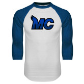 White/Royal Raglan Baseball T Shirt-MC Logo