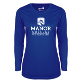 Ladies Syntrel Performance Royal Longsleeve Shirt-Manor College Logo