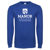 Royal Long Sleeve T Shirt-Manor College Logo