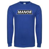 Royal Long Sleeve T Shirt-Manor Flat Word-mark