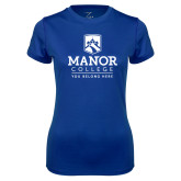 Ladies Syntrel Performance Royal Tee-Manor College Logo