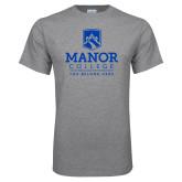 Grey T Shirt-Manor College Logo