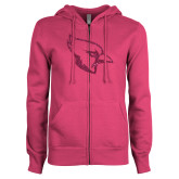 ENZA Ladies Fuchsia Fleece Full Zip Hoodie-Glitter Cardinal White Hot Pink Glitter