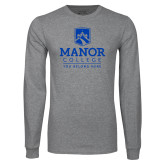 Grey Long Sleeve T Shirt-Manor College Logo