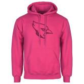 Fuchsia Fleece Hoodie-Glitter Cardinal White Hot Pink Glitter