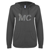 ENZA Ladies Dark Heather V Notch Raw Edge Fleece Hoodie-Glitter MC White Silver Soft Glitter