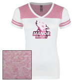 Ladies White/Heathered Pink Juniors Varsity V Neck Tee-Primary Mark  Foil
