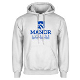 White Fleece Hoodie-Manor College Logo
