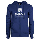 ENZA Ladies Royal Fleece Full Zip Hoodie-Manor College Logo