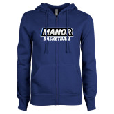 ENZA Ladies Royal Fleece Full Zip Hoodie-Manor Basketball