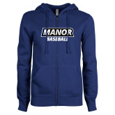 ENZA Ladies Royal Fleece Full Zip Hoodie-Manor Baseball