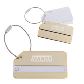 Gold Luggage Tag-Manor Flat Word-mark  Engraved