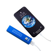 Aluminum Blue Power Bank-Manor Flat Word-mark  Engraved