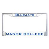 Metal License Plate Frame in Chrome-Bluejays