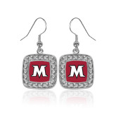 Crystal Studded Square Pendant Silver Dangle Earrings-M