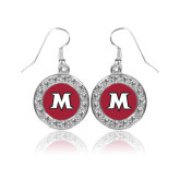 Crystal Studded Round Pendant Silver Dangle Earrings-M
