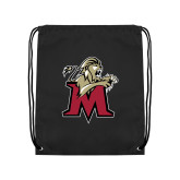Black Drawstring Backpack-Lion with M