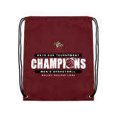 Maroon Drawstring Backpack-2019 ECC Tournament Champions Mens Basketball