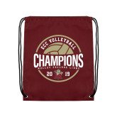 Maroon Drawstring Backpack-2019 Volleyball Champs