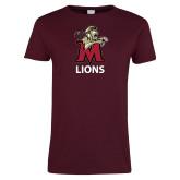 Ladies Maroon T Shirt-Lions