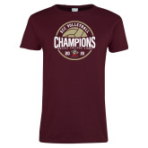 Ladies Maroon T Shirt-2019 Volleyball Champs