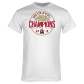 White T Shirt-2019 Volleyball Champs