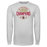 White Long Sleeve T Shirt-2019 Volleyball Champs