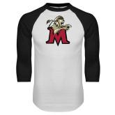 White/Black Raglan Baseball T Shirt-Lion with M