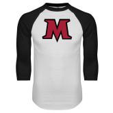 White/Black Raglan Baseball T Shirt-M