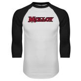 White/Black Raglan Baseball T Shirt-Molloy Wordmark