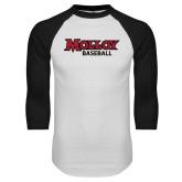 White/Black Raglan Baseball T Shirt-Wordmark Baseball
