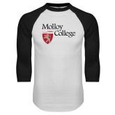 White/Black Raglan Baseball T Shirt-Institutional Logo
