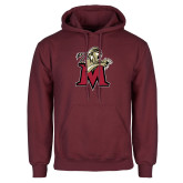 Maroon Fleece Hoodie-Lion with M