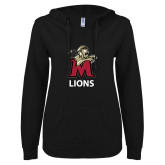 ENZA Ladies Black V Notch Raw Edge Fleece Hoodie-Lions