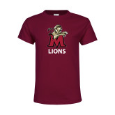 Youth Maroon T Shirt-Lions