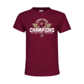 Youth Maroon T Shirt-2019 Womens Soccer Champs
