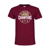 Youth Maroon T Shirt-2019 Volleyball Champs