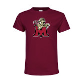 Youth Maroon T Shirt-Lion with M