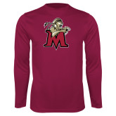 Performance Maroon Longsleeve Shirt-Lion with M