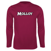 Performance Maroon Longsleeve Shirt-Molloy Wordmark