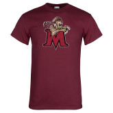 Maroon T Shirt-Lion with M Distressed